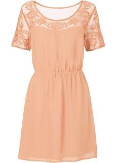Платье с вставкой-сеточкой (персиковый) Bonprix