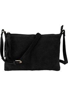 Кожаная сумка через плечо с декоративной кистью (черный) Bonprix