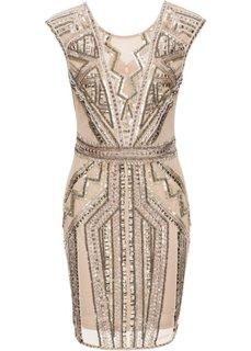 Платье с декоративными аппликациями (кремовый) Bonprix