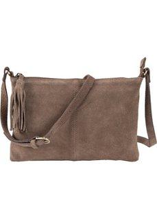 Кожаная сумка через плечо с декоративной кистью (серо-коричневый) Bonprix