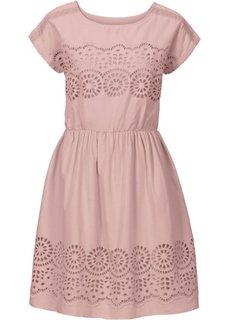 Тканое платье с кружевной вставкой (розовый) Bonprix