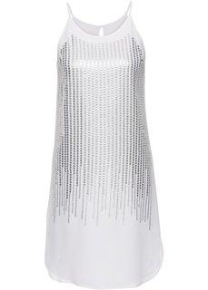 Платье с пайетками (белый/серебристый) Bonprix