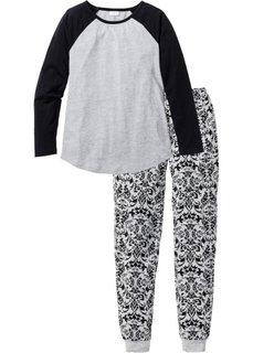 Пижама (светло-серый меланж/черный с рисунком) Bonprix