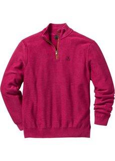 Пуловер Regular Fit с высоким воротом на молнии (ягодный) Bonprix