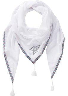 Треугольный платок со звездами и окантовкой (белый) Bonprix