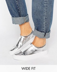ASOS DAISY MAY Wide Fit Slip on Trainers - Серебряный