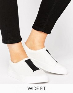 ASOS DAISY MAY Wide Fit Slip on Trainers - Белый
