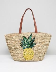 Соломенная пляжная сумка с вышитым ананасом Glamorous - Мульти