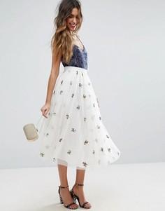 Тюлевая юбка миди для выпускного с вышивкой ASOS - Белый