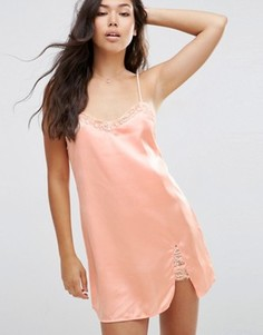 Атласная ночная сорочка ASOS Freya - Бежевый