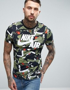 Зеленая футболка с камуфляжным принтом Nike Air 834575-102 - Зеленый