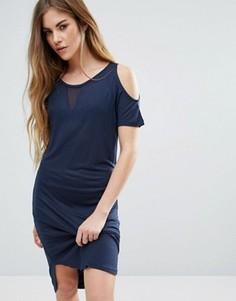 Платье-футболка с вырезами на плечах Noisy May - Темно-синий