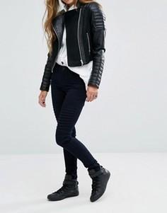 Зауженные байкерские джинсы с классической талией Noisy May Lucy - Синий