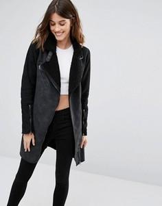 Удлиненное байкерское пальто из искусственной овчины Only - Черный