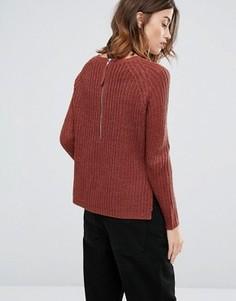Джемпер крупной вязки с молнией на спинке Only - Красный