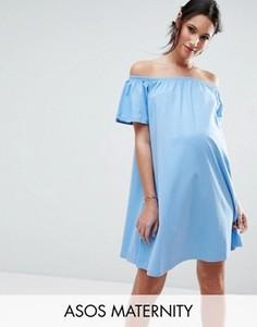 Платье мини для беременных с открытыми плечами ASOS Maternity - Синий