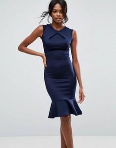 Платье с баской и защипом спереди Club L - Темно-синий