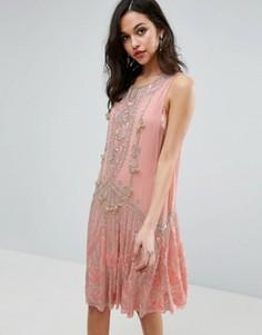 Платье мини с отделкой и бантами ASOS - Розовый