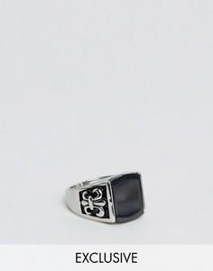 Кольцо с черным камнем Reclaimed Vintage Inspired - Серебряный