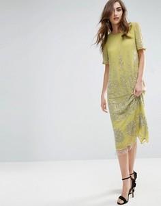 Платье миди с декорированным лифом ASOS GOLD - Желтый
