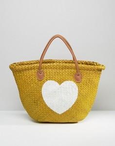 Соломенная сумка-тоут с изображением сердца Hat Attack - Бежевый