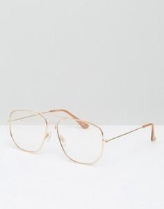Квадратные очки-авиаторы с прозрачными стеклами ASOS - Золотой