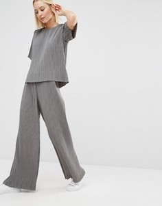 Плиссированные брюки от костюма-двойки с широкими штанинами ADPT - Серый
