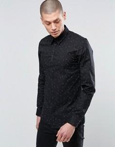 Деловая рубашка узкого кроя в горошек Minimum - Черный