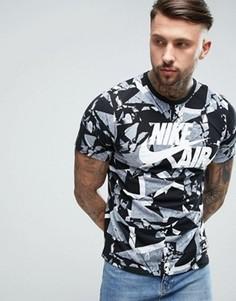 Серая футболка с камуфляжным принтом Nike Air 834575-100 - Серый