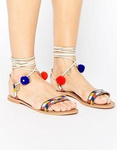 Замшевые сандалии с завязками и помпонами Glamorous - Мульти