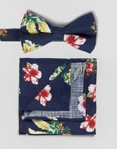 Галстук-бабочка и платок для нагрудного кармана с цветочным принтом ASOS - Темно-синий