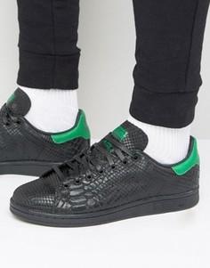 Кроссовки со змеиным принтом adidas Originals Stan Smith - Черный