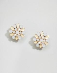 Серьги-гвоздики с цветочным дизайном ASOS - Желтый
