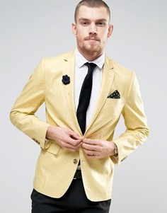 Узкий пиджак из ткани с добавлением льна и цветком на лацкане Gianni Feraud Wedding - Бежевый