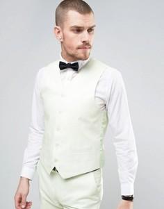 Узкий жилет из 55% льна Gianni Feraud Wedding - Зеленый