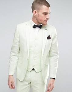 Приталенный пиджак из 55% льна с булавкой-цветком на лацкане Gianni Feraud Wedding - Зеленый