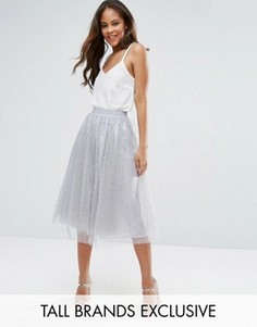 Пышная юбка миди для выпускного с искусственным жемчугом Little Mistress Tall - Серый