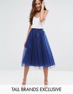 Пышная юбка миди для выпускного с искусственным жемчугом Little Mistress Tall - Темно-синий