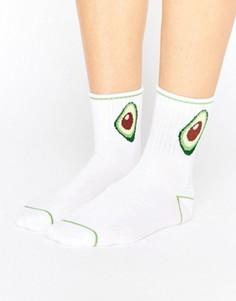 Носки с авокадо Monki - Белый