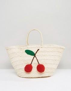 Соломенная сумка с аппликацией в виде вишен Glamorous - Бежевый