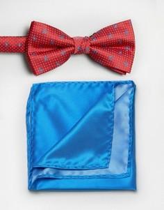 Красный галстук-бабочка и однотонный платок для нагрудного кармана Selected - Красный