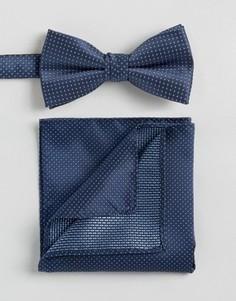 Темно-синий галстук-бабочка в горошек и платок для нагрудного кармана Selected - Темно-синий