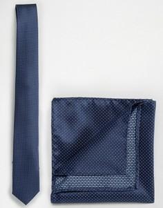 Темно-синий однотонный галстук Selected - Темно-синий