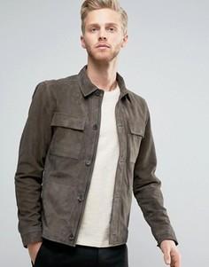 Замшевая куртка Харрингтон Selected Homme - Зеленый