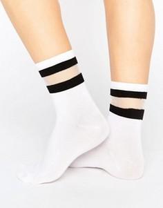 Носки с прозрачной полосой Monki - Белый