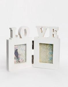 Двойная фоторамка со словом Love Sass & Belle - Мульти