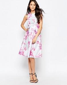 Платье с большой оборкой и цветочным принтом True Violet - Розовый