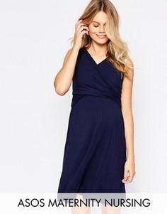 282df91c1c8ea59 Короткое приталенное платье для беременных с запахом ASOS Maternity NURSING  - Темно-синий