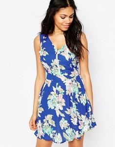 Платье с цветочным принтом и молнией спереди Iska - Синий