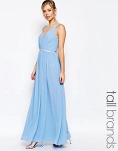 Шифоновое платье макси с V-образным вырезом Jarlo Tall - Синий
